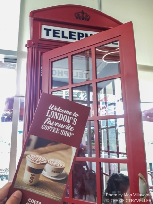 London's favorite coffee shop and London's iconic red telephone booth